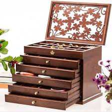 necklace storage organizer images Vintage wood women jewelry box gift for girlfriend wife vanity jpg