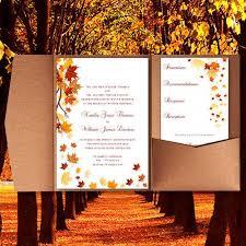pocket fold wedding invitations falling leaves fall autumn or