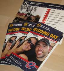 magazine wedding programs sports themed weddings custom designed day wedding programs