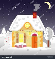 Winter House Flat Style Winter House Cottage Vector Stock Vector 504764278