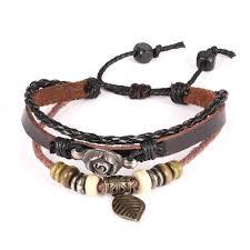 leather leaf bracelet images Japanese korean leaf bracelet vintage male adjustable cheap jpg