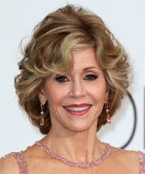 jane fonda short straight formal hairstyle with side swept bangs