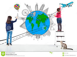 World Wide Map Two Kids Drawing Worldwide Map And Famous Landmark Stock