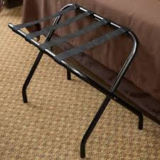 Folding Bakers Rack Metal Folding Flat Top Luggage Rack With Black Finish And Black Straps