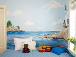 fresque chambre enfant design interieur fresque murale chambre enfant paysage marin phare