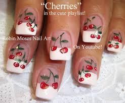 easy cherry nail art cute cherries nail design tutorial youtube