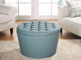 Blue Storage Ottoman Lovable Soft Storage Ottoman Coffee Table Round Storage Ottoman