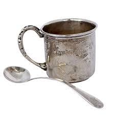 silver mug sterling silver mug and spoon ebth