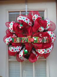 happy holidays deco mesh wreath by aguinigal11 on etsy christmas