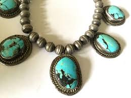 turquoise stone vintage native american silver bead turquoise stone necklace from