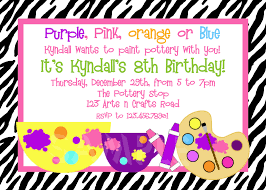 printed birthday invitations printable birthday invitations girls pottery painting party