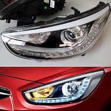 led halo headlight accent lights led projection day light head l pair hyundai accent solaris 2011
