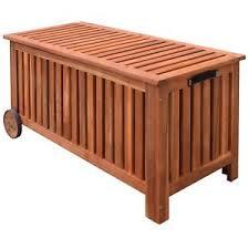 outdoor storage bench deck box garden wooden patio porch cushion