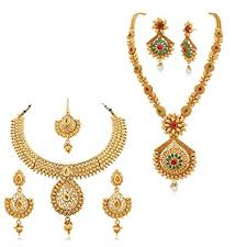 long gold necklace sets images Buy apara copper long and short necklace set combo with colorful jpg