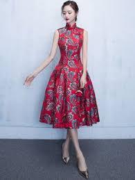 chiffon flare embroidered qipao cheongsam dress fashion n