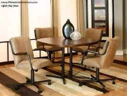 dinette table and chairs with casters caster chair dining room furniture