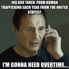 100 000 taken from human trafficking each year from the united