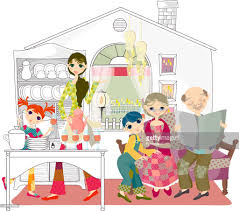 family in kitchen stock illustration getty images