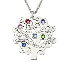 mothers necklace family tree necklace gold color s necklace with birthstone