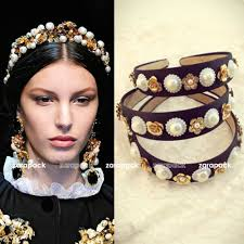 luxury hair accessories luxury baroque style gold tone flower pearl wide hair band