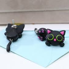 polymer clay stud earrings polymer clay black cat stud earrings pet clever
