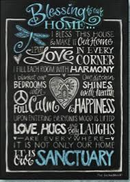 blessing for the home blessing to our home 70 x 50cm stretch canvas blackboard design by