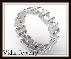 diamond wedding bands for women womens bike chain diamond wedding band vidar jewelry unique