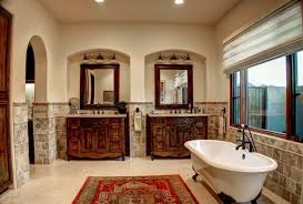 tuscan bathroom with clawfoot tub and double vanities wonderful