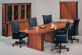 furniture rectangle brown wooden conference table and five black