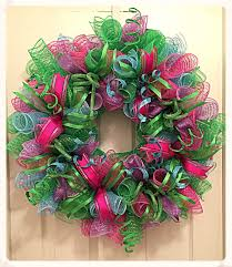 spring pink lime turquoise and purple deco mesh wreath lime
