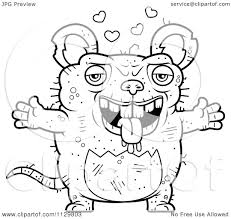 cartoon clipart of an outlined loving ugly rat black and white