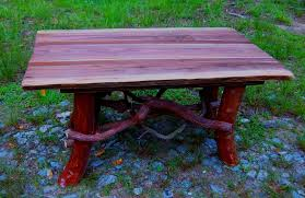 Log Cabin Furniture Hand Crafted Rustic Coffee Table With Mountain Laurel Base Log