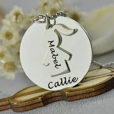 childs name necklace engraved name necklace set silver