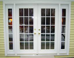 Glass Patio Doors Exterior by White Stained Wooden Patio Doors With Gold Door Handle Plus Light