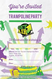 trampoline invitations book party