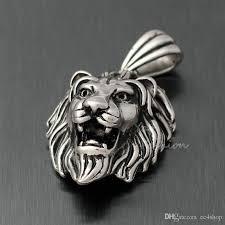 wholesale silver necklace pendants images Wholesale men 39 s huge vintage lion head necklace pendant silver jpg