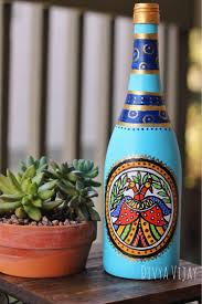 Wine Bottle Home Decor Handpainted Bottle Vase Up Cycled Wine Bottle Madhubani