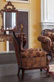 homey design brown upholstered accent chair victorian style