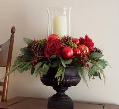 christmas centerpiece red silk in black urn 79 00 via etsy