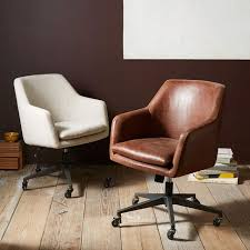 Small Leather Armchair Helvetica Leather Office Chair West Elm