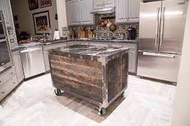 kitchen island made from reclaimed wood speckled black rolling kitchen island porter barn wood