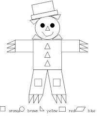 scarecrow color by shape kindergartenklub com pinterest