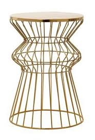 Wire Side Table Mod Gold Wire Side Table Reserve Modern Event Rentals