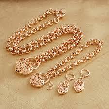 gold necklace bracelet earrings set images Filigree 18k rose gold filled gf heart locket belcher necklace jpg