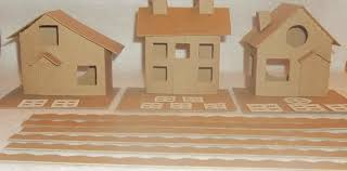 putz style cardboard house set of 3 houses slanted roof