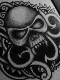 skull ornament drawing on behance