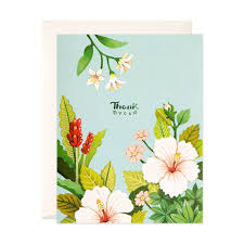 light blue floral thank you card joojoo paper