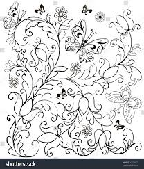 hand drawn flowers butterflies anti stress stock vector 421790572