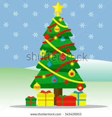 tree ornaments gifts outside snow stock vector 343428953