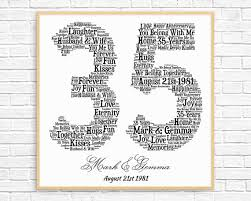 35 anniversary gift personalized 35th anniversary gift word printable